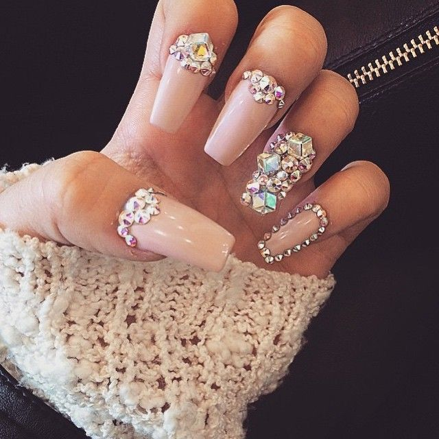 Swarovski crystals and high quality stones and an eye for design bring this  beautiful nail design to life. - 77 Best Cute Girly Nails Images On Pinterest Nail Art, Nail Design