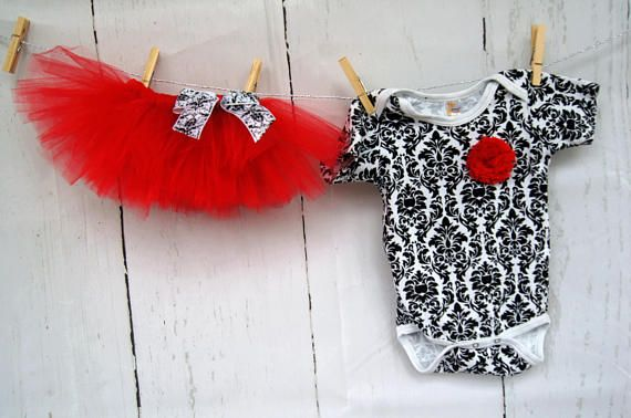 Damask Bodysuit and Tutu Outfit Onesie Red Tutu Baby