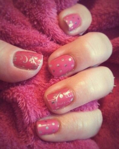 """Adorable and afordable manicures from Jamberry!!! """"Icy Pink Polka & Silver Floral on Magenta"""". Give them a try...you'll be glad you did!  Jamsbyangela.jamberrynails.net"""