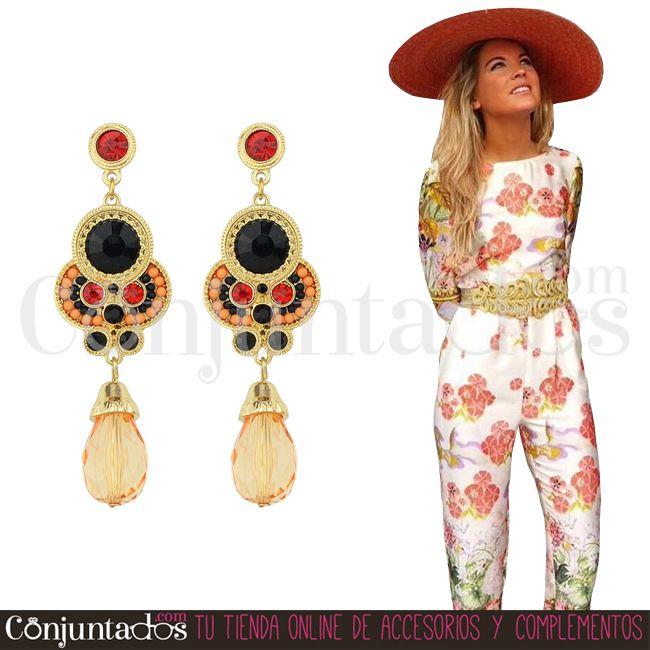 Pendientes Ankara con piedra naranja ★ 14'95 € ★ Cómpralos en ★ #pendientes #earrings #conjuntados #conjuntada #joyitas #lowcost #jewelry #bisutería #bijoux #accesorios #complementos