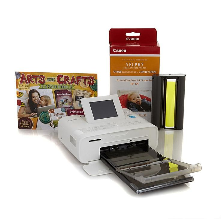 Canon Selphy CP1200 Wireless Compact Photo Printer with Ink, Paper Pack and Software - White
