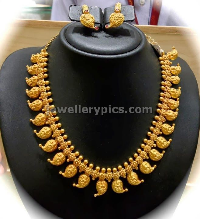 Dull finish Gold Mango Mala antique design at Nalli jewellers - Latest Jewellery Designs