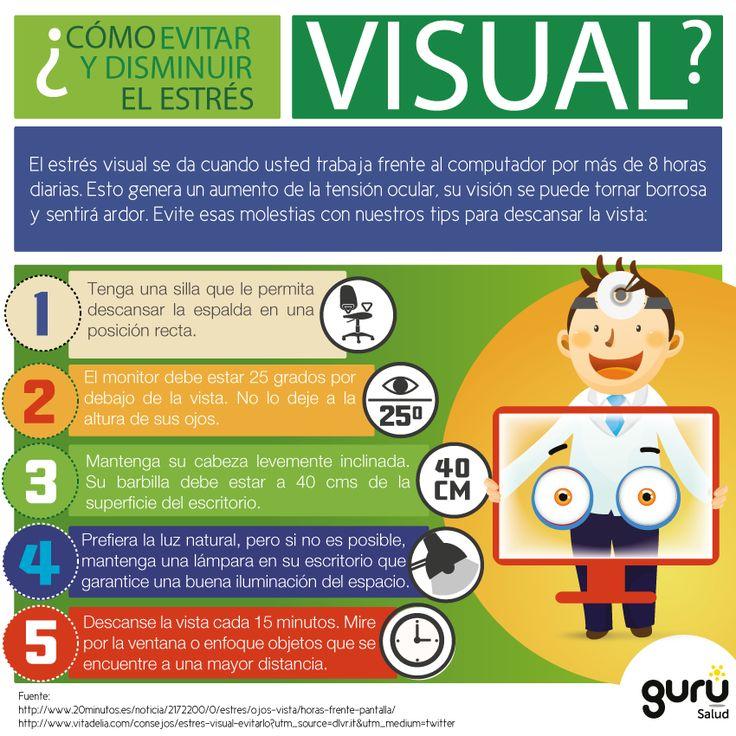 Cómo evitar el estrés visual #infografia #infographic #health