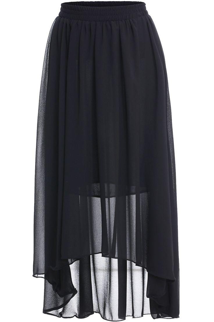 Black Elastic Waist Asymmetrical Chiffon Skirt -SheIn