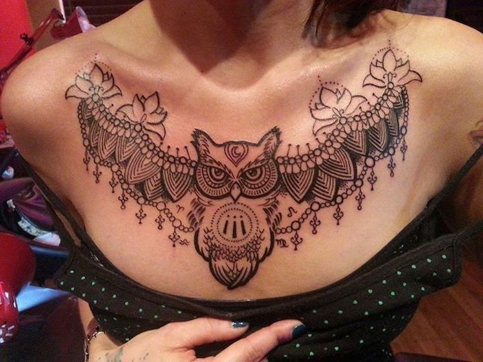 Large Symmetrical Owl And Lotuses Tattoo Tattoos For Girls With Meaning Black Top With Blue Dot Chest Tattoos For Women Tattoos For Women Chest Piece Tattoos