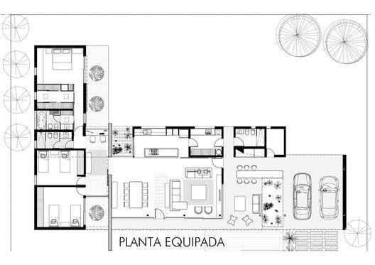 Residência Suburbana,Planta - Equipada