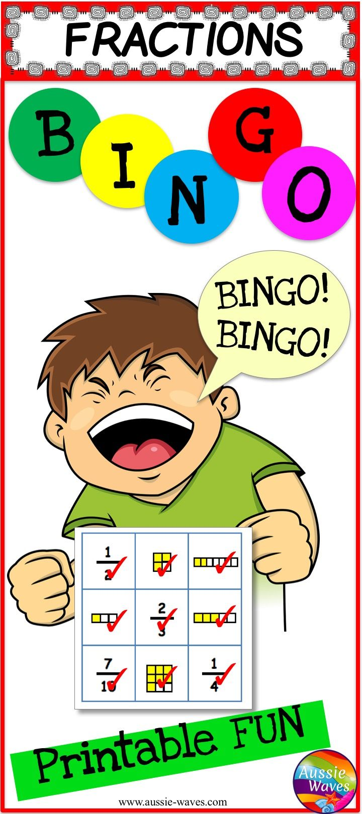 Printable Bingo Cards for kids to learn about fractions. Play, learn and have fun!