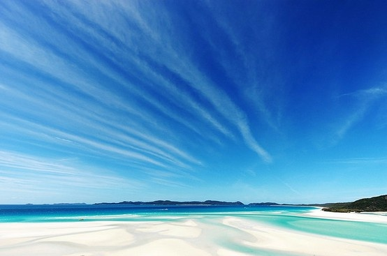 Spectacular skies over Hill Inlet at the northern end of Whitehaven Beach, the Whitsundays
