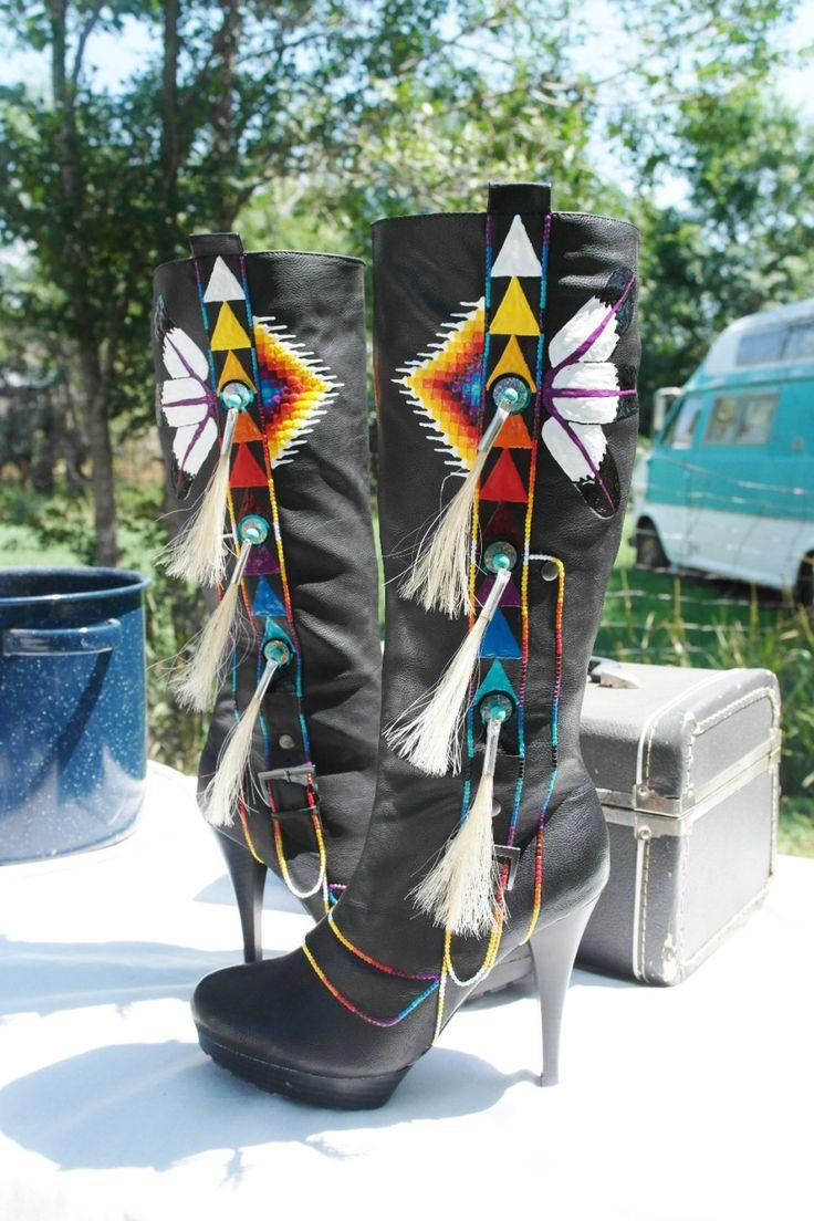 Native Boots by Rez Hoofz Size 9 Hand  Ready to ship by REZHOOFZ, $198.95