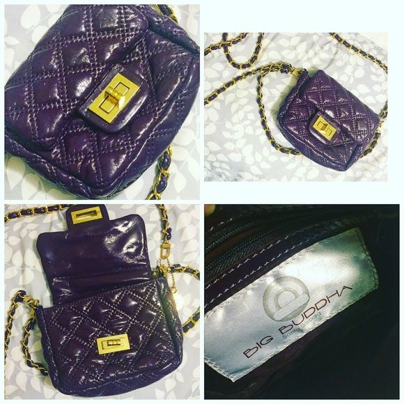 ❗️SALE❗️Big Buddha Small Cross Body Bag Purple big Buddha bag. Small bag meant for cell phone and ID. Used once. Super cute. Gold and purple chain. Perfect condition. Big Buddha Bags