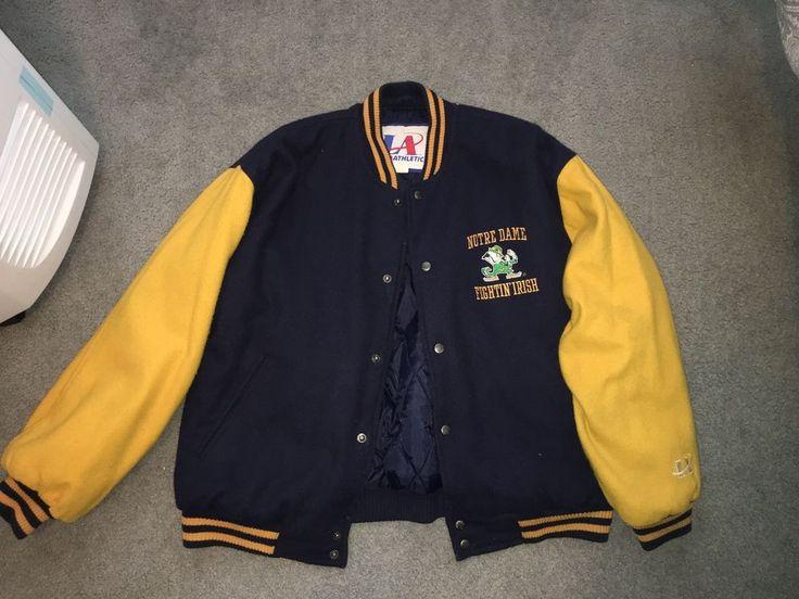 Vintage Notre Dame Logo athletic Varsity Letterman Jacket