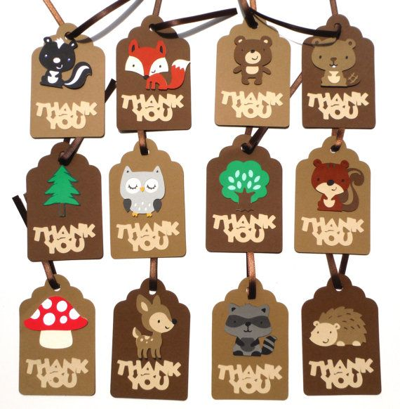 Woodland Animal Thank you Tags Personalized by ScrapsToRemember, $12.00