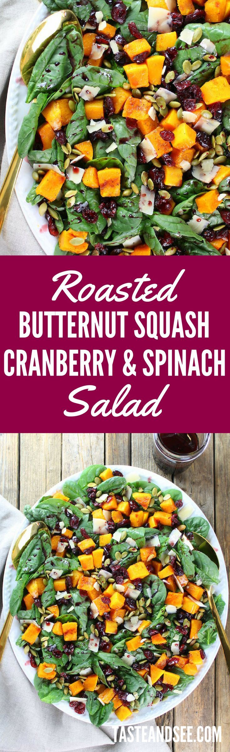 Roasted Butternut Squash, Cranberry and Spinach Salad with a Cran-Cabernet Dressing - Healthy | Low-carb  | http://tasteandsee.com