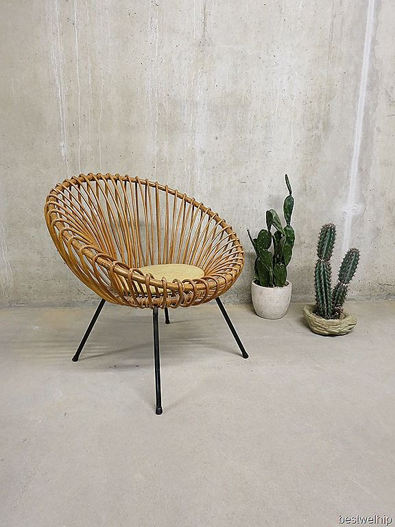vintage design rotan bamboe lounge chair stoel Rohe, Franco Albini style jaren 50