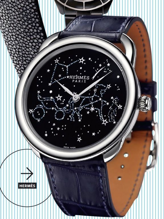 HERMES diamond leather watch