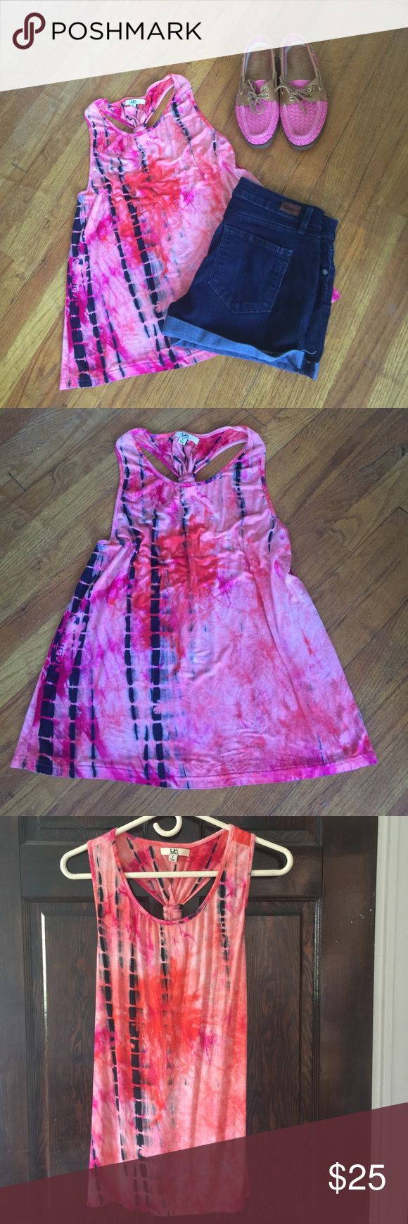 """Tie Dye Tank ☀️ Super cute and soft Tank Top - fun pink and navy tie dye design - cute knotted racer back - bust laying flat approx 16"""" - length approx 23"""" - soft and stretchy - worn once - size large boutique Tops Tank Tops"""