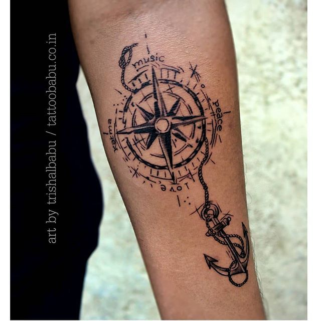 Art By Trishal Babu Compasstattoo Anchortattoo Anchor Besttattoo Tattoos Tattooart Besttattoostudioinraipur Besttattoodesing