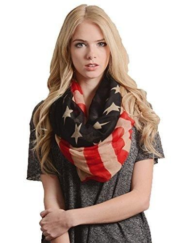 Eds Industries Rustic Vintage American Flag 4th of July USA Scarf
