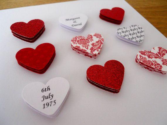 Handmade personalised Ruby Wedding Anniversary card - 40th 40