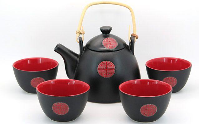 ΚΑΙΝΟΥΡΙΟ Μαυρο και κόκκινο σετ τσαγιού Shantou
