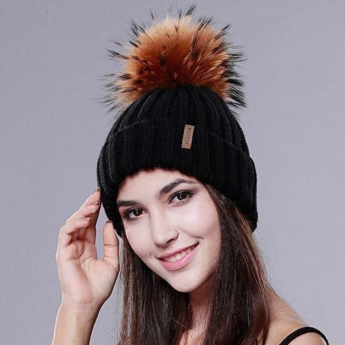 6222c3e96a172 Furtalk Real Fur Hat Knitted Real Big Raccoon Pom Pom Hat Women Winter –  modlilj