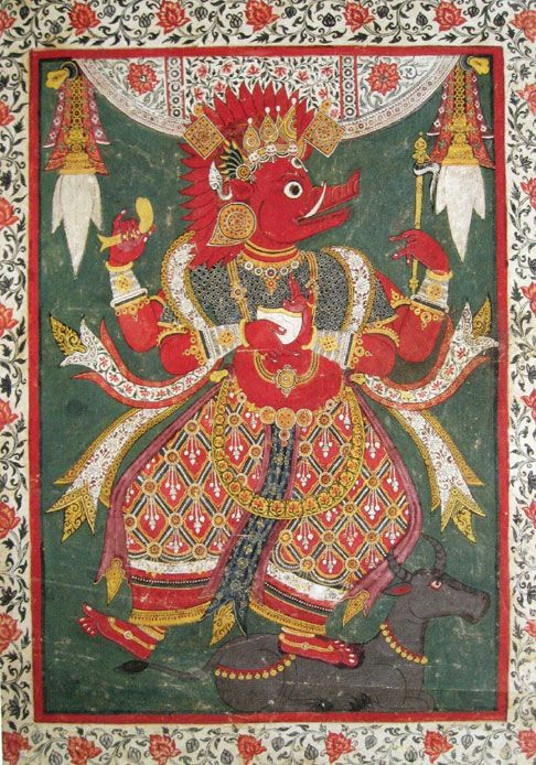 Varahi. In Nepal, she is called Barahi the feminine aspect of Varaha, the boar-headed 3rd incarnation of Vishnu. Nepal; 17th C. double-sided cloth banner. Rubin Museum of Art