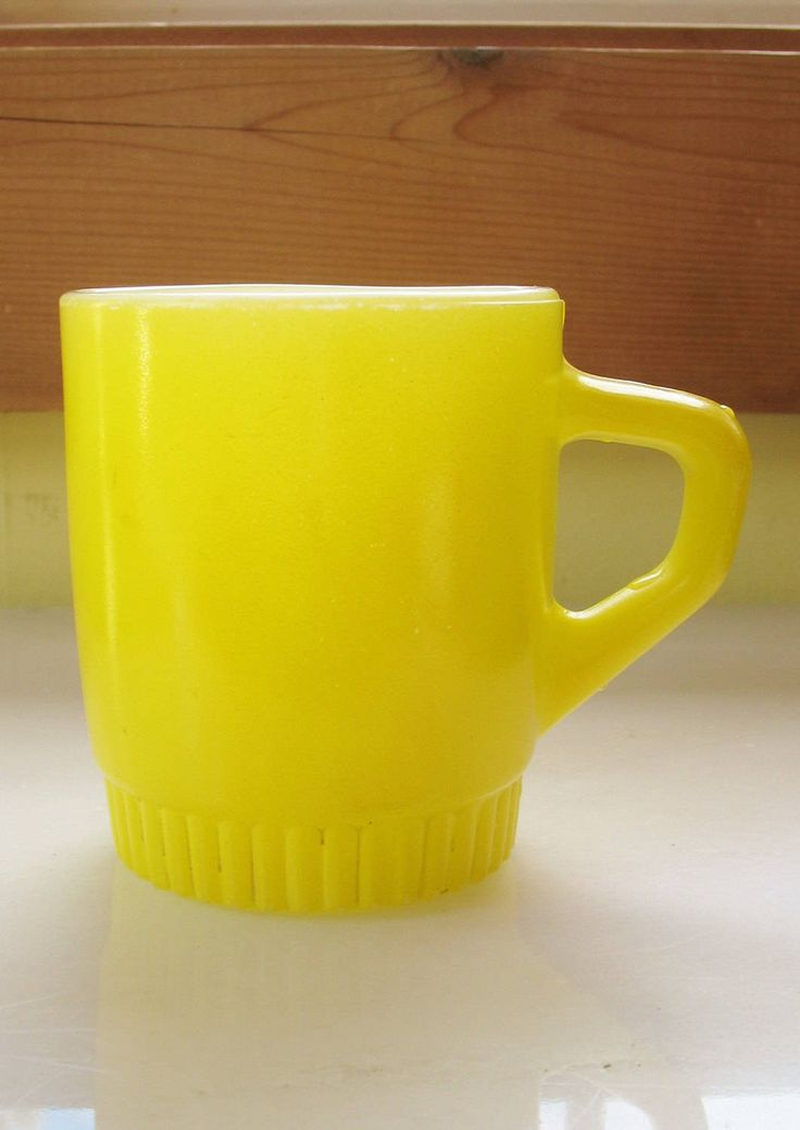 Vintage Yellow Coffee Mug Tea Cup Bright Color Collectible Glassware FIRE KING Ovenware Anchor Hocking Glassware by eclecticka on Etsy