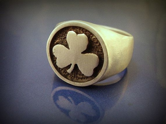 Heavy Sterling Shamrock Signet Ring Men S Shamrock Ring
