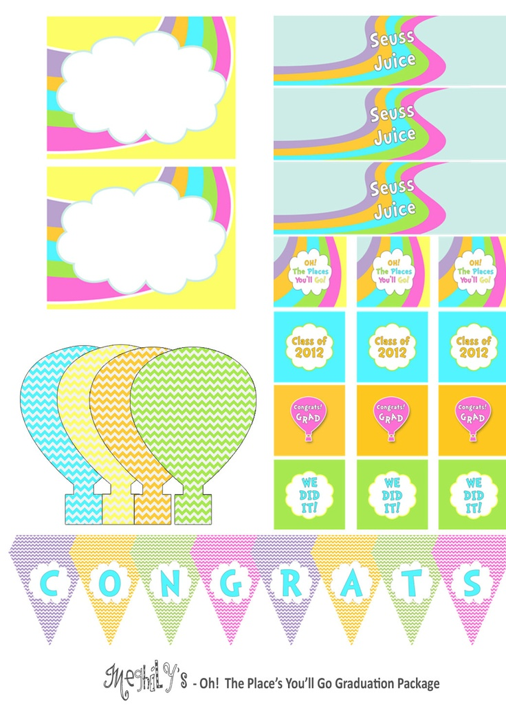 Oh The Places You ll Go Printable Package by Meghilys on Etsy. 84 best Preschool  Graduation images on Pinterest   Graduation