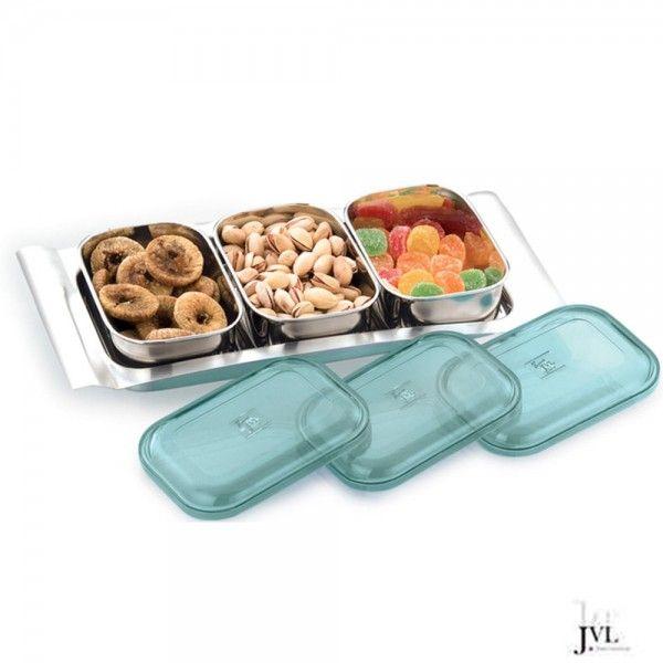 JVL Rectangular Designer Bowl Set, 3-Pieces With Tray | Kitchen ...