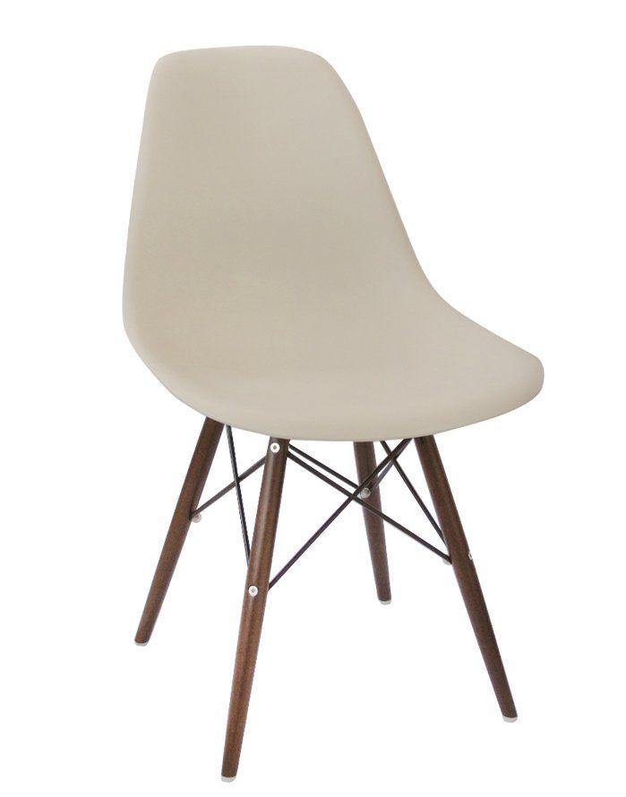 Replica Eames DSW Chair – Beige/Walnut Stain