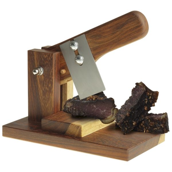 All South African Biltong cutter  Sturdy Wooden Base  Wooden Handle  Stainless Steel Cutting Blade