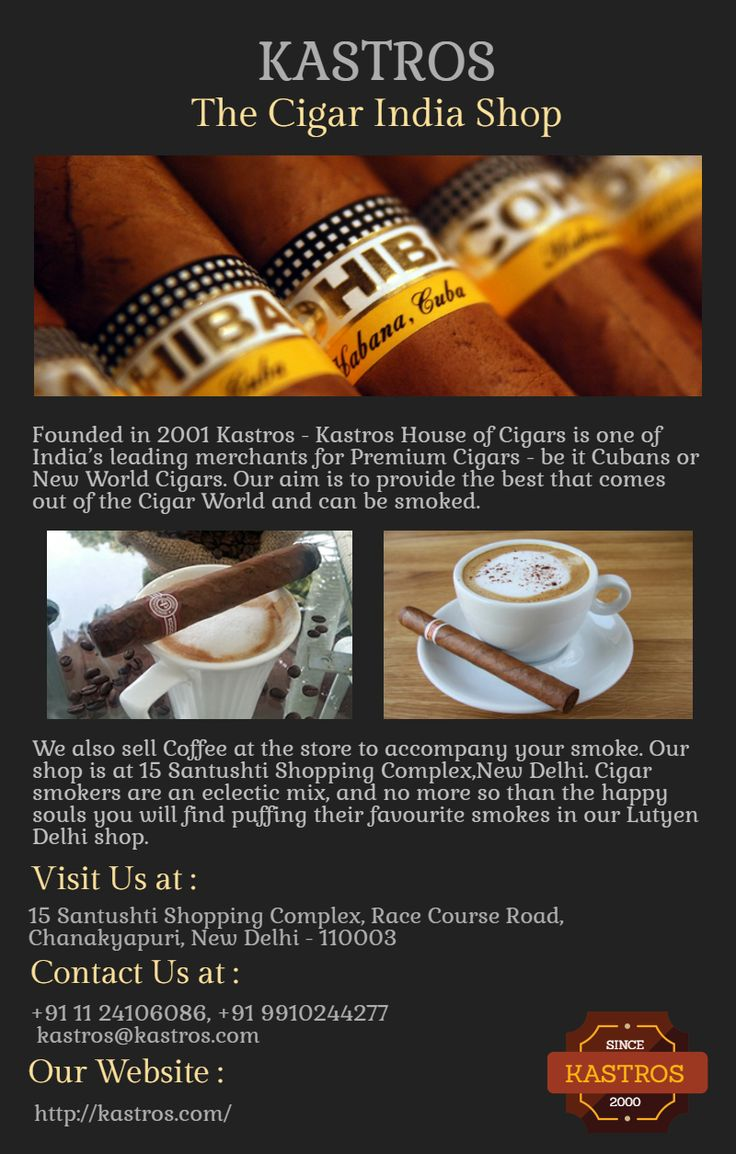 Cigar India - To Buy quality Cigars Kastros.com is the trusted online store. They provide best Cuban and Non Cuban Cigars at best prices. They also organize Cigar India events and parties world wide.