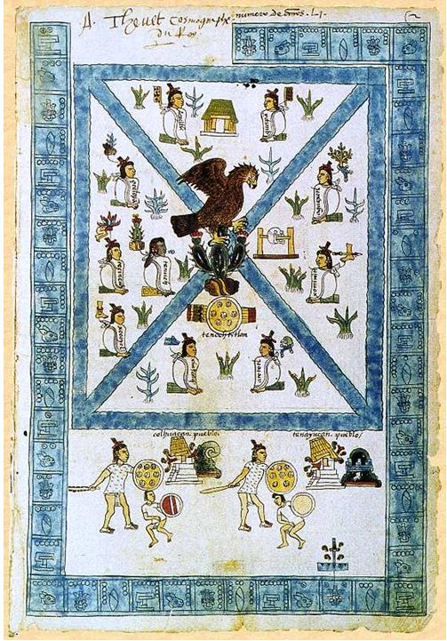 Códice Mendoza - fundación de Tenochtitlan en el año 1325 d. C. El escudo mexicano incluye el águila sobre el cactus