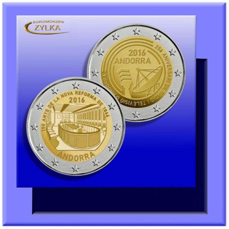 """2 x 2 Euro """"25 Jahre Rundfunk & 150 Jahre Reform"""" Andorra 2016: Gedenkmünzen (stsparen25.com , sparen25.de , sparen25.info"""