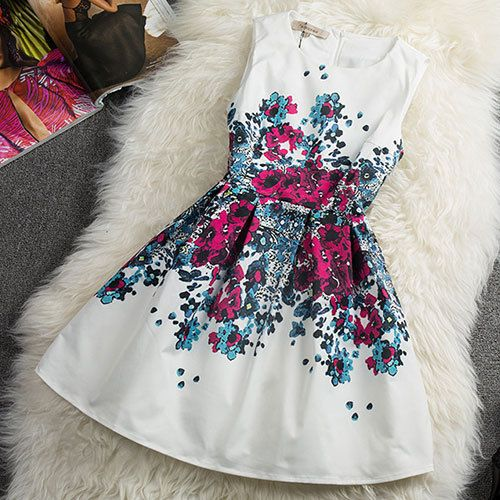 Vintage Charming Contrast Color Floral Print Sleeveless A-lined Dress