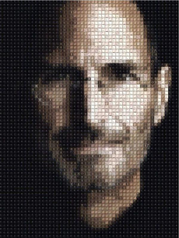 Portrait of Steve Jobs, made from keyboard keys.
