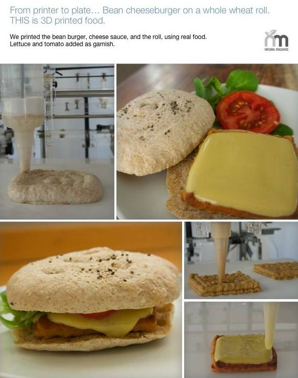 Foodini 3D Food Printer   Barcelona start-up Natural Machines' new invention: Foodini, a prototype 3D printer can produce a range of foodstuffs, chocolate, cheeseburger, gnocchi, ravioli, bread sticks... as long as they are squidgy.