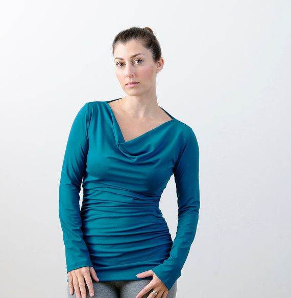 Long Sleeve Shirt, Women's Jersey Top, Shirred Top / Blouse in Teal (Great for nursing) XS S M L XL