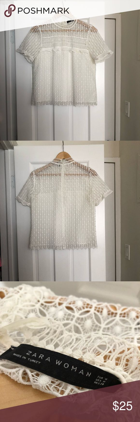 Zara Woman Lace Blouse White Zara Lace and Ruffle Blouse. Slightly high neck and 3/4 zip up the back. PERFECT top for SPRING!! It's a size medium, but runs a little small. There's a hint of a yellow stain on the front ruffle across the chest (see photo). I will try to better get it out before shipped. Please make an offer if interested :) Zara Tops Blouses