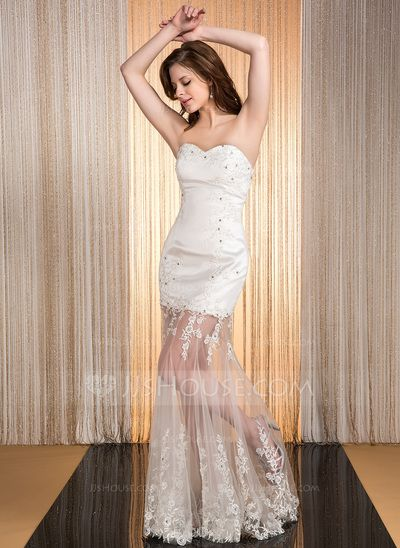 Prom Dresses - $169.99 - Mermaid Sweetheart Floor-Length Satin Tulle Prom Dress With Lace Beading (007040796) http://jjshouse.com/Mermaid-Sweetheart-Floor-Length-Satin-Tulle-Prom-Dress-With-Lace-Beading-007040796-g40796