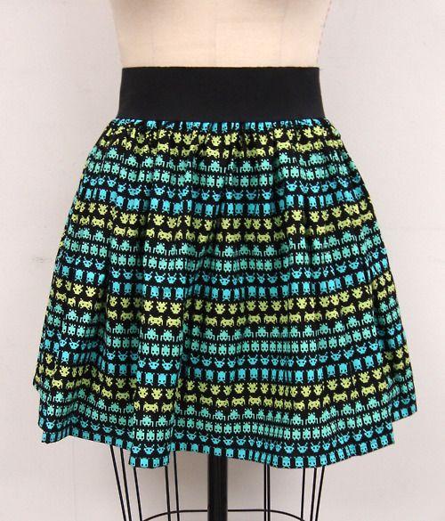 Space Invaders Skirt: Spaces, Full Skirts, Invaders Atari, Falda Space, Skirt Reserved, Space Invaders, Invaders Skirt