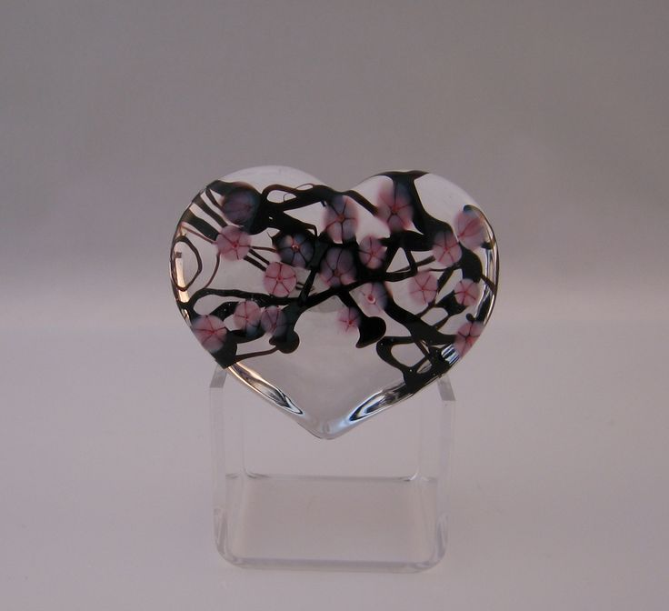 Clear Cherry Blossom Heart Paperweight