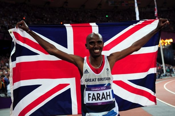 Mo Farah celebrates his 10,000m victory at London 2012 completing Team GB's epic athletic evening.