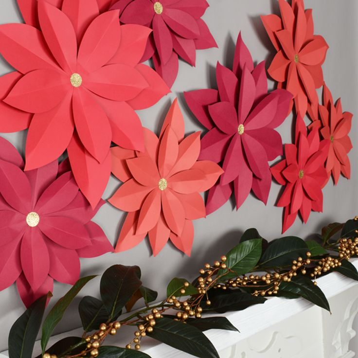 DIY wall decorations - how to make paper flowers - Christmas  poinsettias