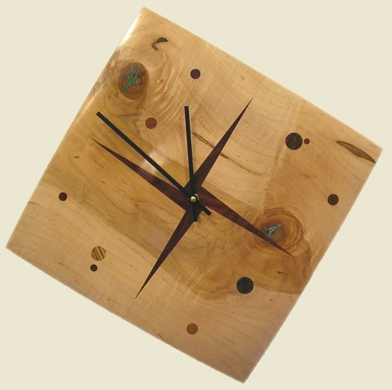 Solar System Clock made from Ambrosia Maple with by twigsoup, $120.00