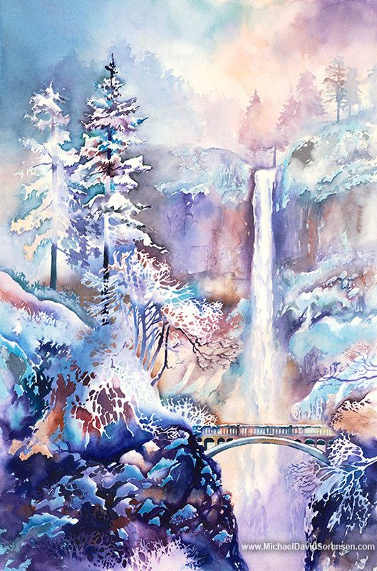 Winter Frost- Multnomah Falls in the Winter Watercolor Art Print. Watercolor Snow Scene. Waterfall. Bridge. Trees. Blue. Purple. Gorge.