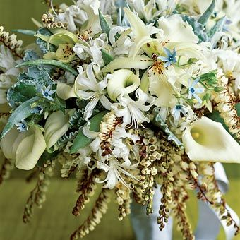 Brides.com: Out-of-the-Box Wedding Bouquets. Calla lilies, andromeda, spider orchids, nerine lilies, tweedia and succulents meet in a white bouquet that's anything but bland. About $350, Lotus.
