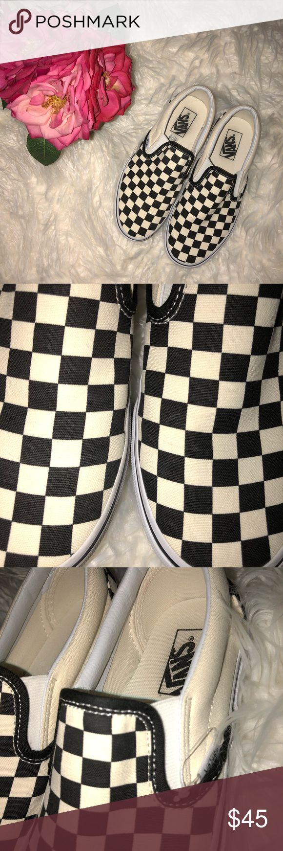 Vans Checkered Slip-On Shoe WORN ONCE! The Classic Slip-On has a low profile, slip-on canvas upper with all-over checker print, elastic side accents, Vans flag label and Vans original Waffle Outsole. Unisex fit - Women 8/ Men 6.5 Vans Shoes