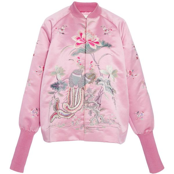 Ms Min Embroidered Satin Bomber Jacket ($2,450) ❤ liked on Polyvore featuring outerwear, jackets, tops, pink, pink satin jacket, blouson jacket, embroidery jackets, embroidered bomber jacket and bomber style jacket